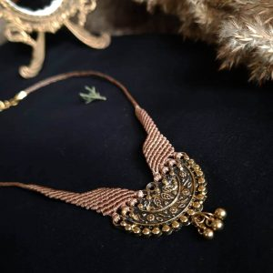Beige Risheywa Jewellery by Veda with metal pedant