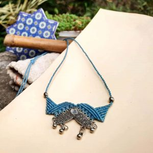 Blue Macrame Boho jewelery collection with silver pendant