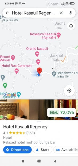 Google Maps of Hotel Kasauli Regency